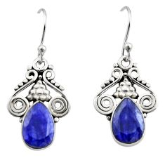 5.38cts natural blue sapphire 925 sterling silver dangle earrings jewelry r13342
