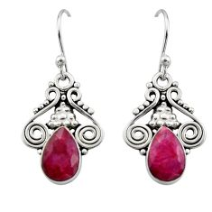 5.22cts natural red ruby 925 sterling silver dangle earrings jewelry r13345