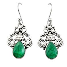 5.22cts natural green emerald 925 sterling silver dangle earrings jewelry r13349