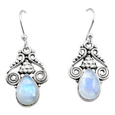 5.11cts natural rainbow moonstone 925 sterling silver dangle earrings r13350
