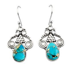 925 sterling silver 4.67cts blue copper turquoise dangle earrings jewelry r13352