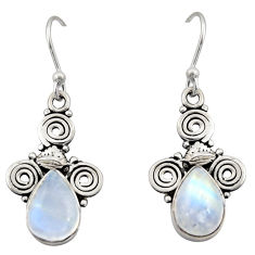 5.15cts natural rainbow moonstone 925 sterling silver dangle earrings r13353