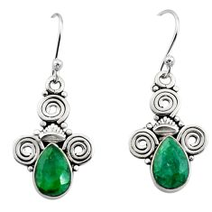 4.43cts natural green emerald 925 sterling silver dangle earrings jewelry r13354