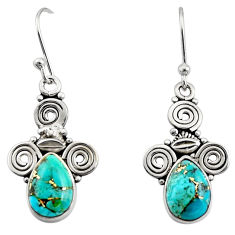 925 sterling silver 4.67cts blue copper turquoise dangle earrings jewelry r13355