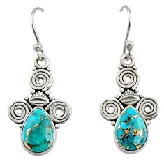 4.81cts blue copper turquoise 925 sterling silver dangle earrings jewelry r13356