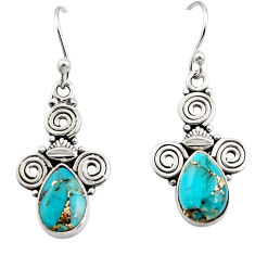 4.67cts blue copper turquoise 925 sterling silver dangle earrings jewelry r13357