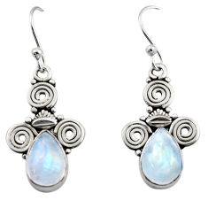 925 sterling silver 5.11cts natural rainbow moonstone dangle earrings r13359