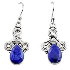 5.11cts natural blue sapphire 925 sterling silver dangle earrings jewelry r13360