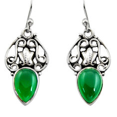 4.51cts natural green chalcedony 925 sterling silver dangle earrings r13363