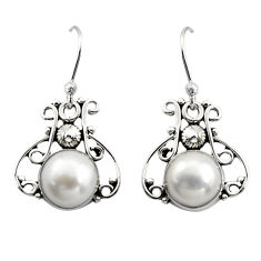 6.39cts natural white pearl 925 sterling silver dangle earrings jewelry r13365