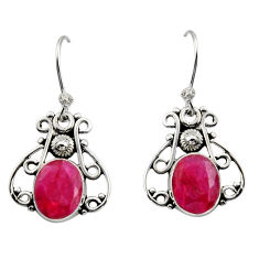 925 sterling silver 7.00cts natural red ruby dangle earrings jewelry r13368