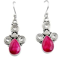 4.43cts natural red ruby 925 sterling silver dangle earrings jewelry r13369