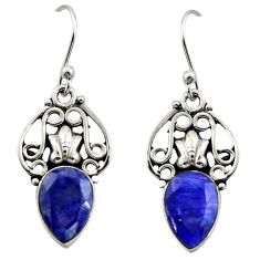 5.23cts natural blue sapphire 925 sterling silver dangle earrings jewelry r13371