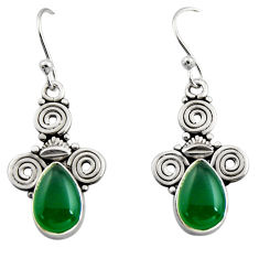 4.67cts natural green chalcedony 925 sterling silver dangle earrings r13372