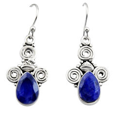 925 sterling silver 5.11cts natural blue sapphire dangle earrings jewelry r13373