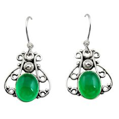 6.22cts natural green chalcedony 925 sterling silver dangle earrings r13374