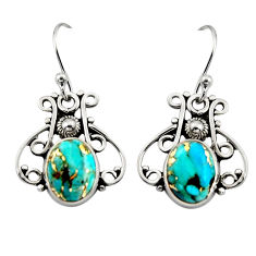 5.06cts blue copper turquoise 925 sterling silver dangle earrings jewelry r13375
