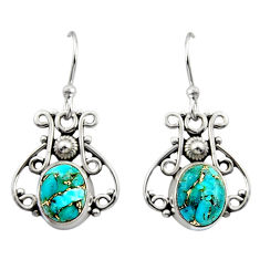 4.99cts blue copper turquoise 925 sterling silver dangle earrings jewelry r13376