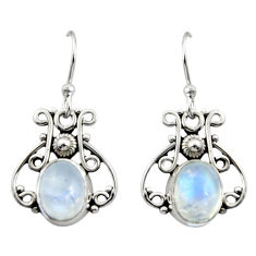 5.06cts natural rainbow moonstone 925 sterling silver dangle earrings r13379