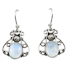 925 sterling silver 5.17cts natural rainbow moonstone dangle earrings r13380
