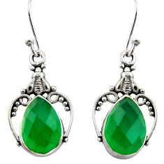 8.05cts natural green chalcedony 925 sterling silver dangle earrings r13382