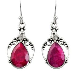 8.03cts natural red ruby 925 sterling silver dangle earrings jewelry r13386