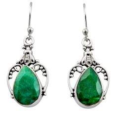 8.06cts natural green emerald 925 sterling silver dangle earrings jewelry r13387
