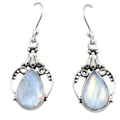 7.00cts natural rainbow moonstone 925 sterling silver dangle earrings r13389