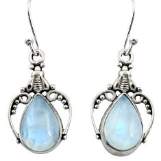 7.25cts natural rainbow moonstone 925 sterling silver dangle earrings r13390
