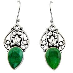 4.52cts natural green emerald 925 sterling silver dangle earrings jewelry r13392