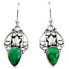925 sterling silver 4.52cts natural green emerald dangle earrings jewelry r13394
