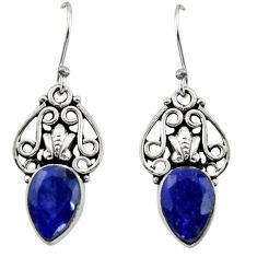 5.23cts natural blue sapphire 925 sterling silver dangle earrings jewelry r13396