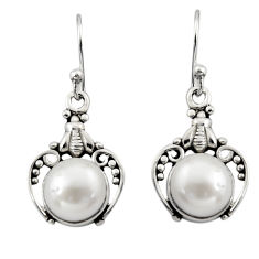 6.43cts natural white pearl 925 sterling silver dangle earrings jewelry r13397