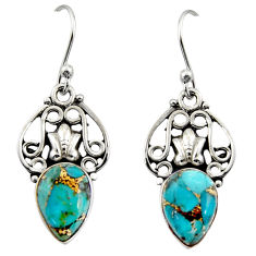 925 sterling silver 5.84cts blue copper turquoise dangle earrings jewelry r13398