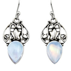 5.23cts natural rainbow moonstone 925 sterling silver dangle earrings r13399