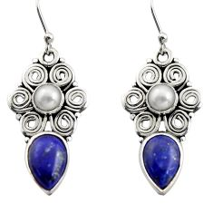 925 silver 8.14cts natural blue lapis lazuli white pearl dangle earrings r13407