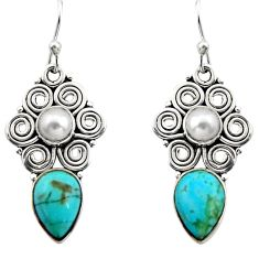 7.66cts green arizona mohave turquoise pearl 925 silver dangle earrings r13410