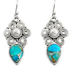 925 sterling silver 7.24cts blue copper turquoise pearl dangle earrings r13411