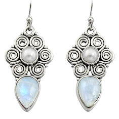 925 silver 7.92cts natural rainbow moonstone pearl dangle earrings r13416
