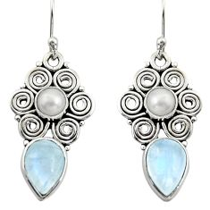 7.51cts natural rainbow moonstone pearl 925 silver dangle earrings r13418