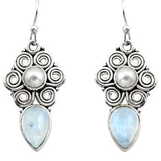 925 silver 7.22cts natural rainbow moonstone white pearl dangle earrings r13420