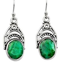 8.55cts natural green emerald 925 sterling silver dangle earrings jewelry r13422