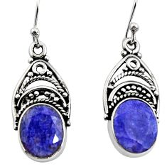 8.31cts natural blue sapphire 925 sterling silver dangle earrings jewelry r13425