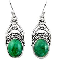 8.42cts natural green chrysocolla 925 sterling silver dangle earrings r13427