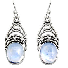 925 sterling silver 8.05cts natural rainbow moonstone dangle earrings r13428