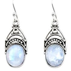 8.05cts natural rainbow moonstone 925 sterling silver dangle earrings r13429