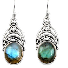 8.43cts natural blue labradorite 925 sterling silver dangle earrings r13430