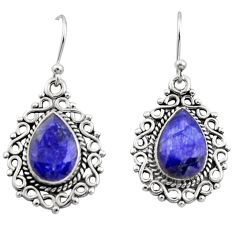 925 sterling silver 8.83cts natural blue sapphire dangle earrings jewelry r13432