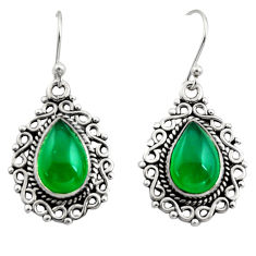 8.42cts natural green chalcedony 925 sterling silver dangle earrings r13433