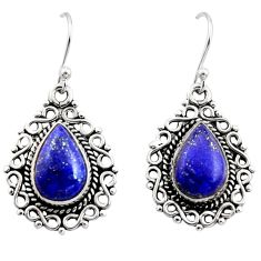 8.54cts natural blue lapis lazuli 925 sterling silver dangle earrings r13434